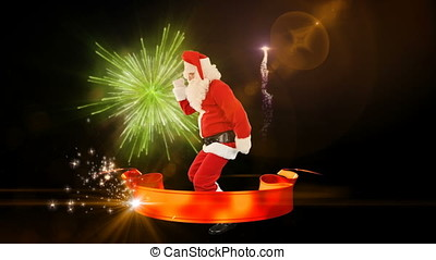 Santa Claus Dance with Merry Christmas ribbon, fireworks