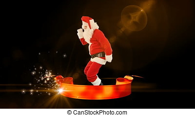 Santa Claus Dance with Merry Christmas ribbon