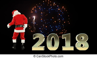 Santa Claus Dancing, 2018 sign with fireworks