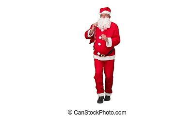 Santa Claus dancing against a white background
