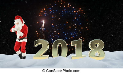 Santa Claus dancing and 2018 sign against beautiful fireworks and snow