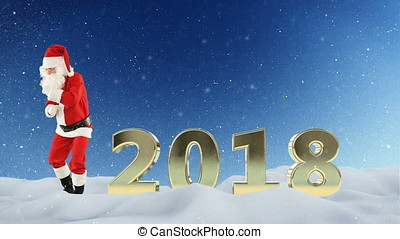Santa Claus dancing and 2018 sign against beautiful snow