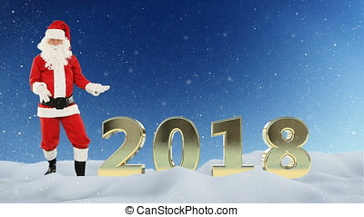 Santa Claus dancing and 2018 sign against snow