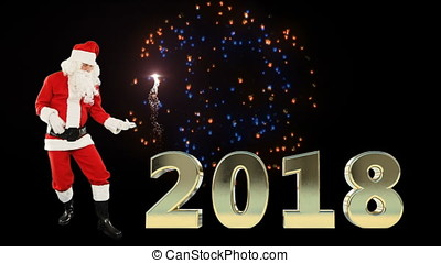 Santa Claus Dancing and 2018 sign with fireworks