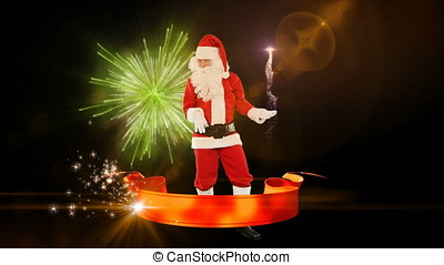 Santa Claus Dancing and Merry Christmas ribbon, fireworks