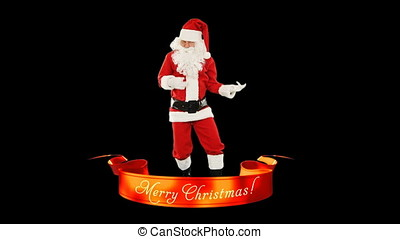 Santa Claus Dancing and Merry Christmas ribbon