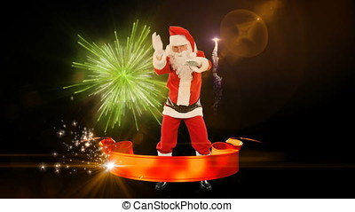 Santa Claus Dancing, Merry Christmas ribbon, fireworks