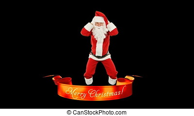Santa Claus Dancing, Merry Christmas ribbon