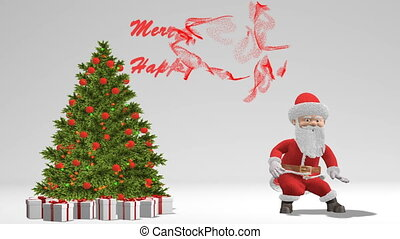 Santa Claus dancing near the Christmas tree. The concept of...