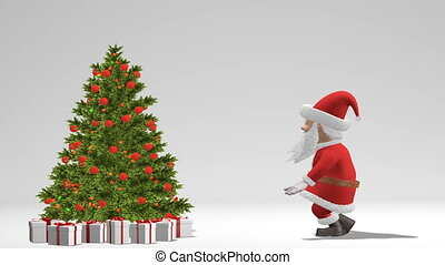 Santa Claus dancing near the Christmas tree. The concept of Christmas and New Year. With alpha channel. Seamless Loop.
