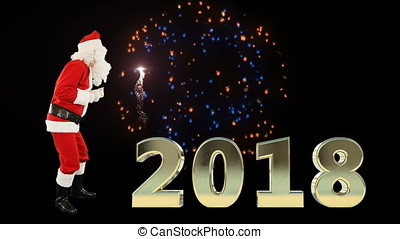 Santa Claus Dancing with 2018 sign with fireworks