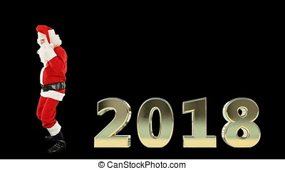 Santa Claus Dancing with 2018 text