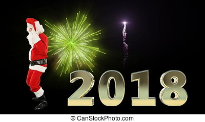Santa Claus Dancing with 2018 text with fireworks