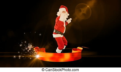 Santa Claus Dancing with Merry Christmas ribbon