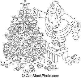 Santa Claus decorating a Christmas