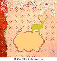 Santa Claus Deer vintage Christmas card. EPS 8