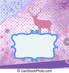 Santa Claus Deer vintage Christmas card. EPS 8