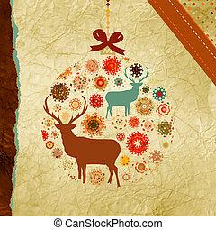Santa Claus Deer vintage Christmas card. EPS 8 - Vector...