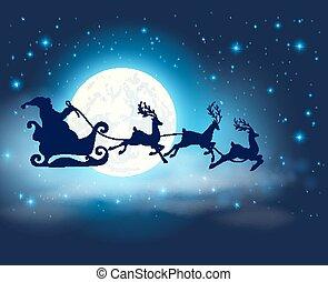 Santa Claus, deers and full Moon