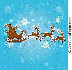 Santa Claus, deers and snowflakes