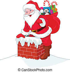 Santa Claus descends the chimney. He keeps a bag of gifts.