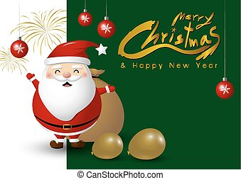 Santa claus design for christmas and new year on gray background vector illustration