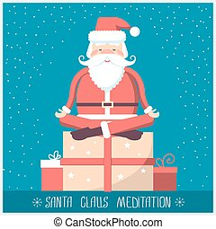 Santa claus doing yoga meditation and sitting on big present...