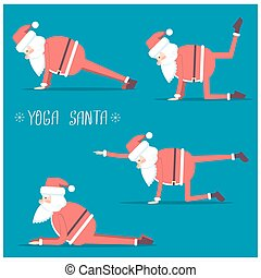 Santa claus doing yoga.Vector isolated illustration for...