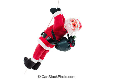 Santa claus doll climbing on rope