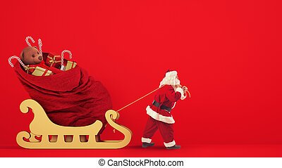 Santa Claus drags a large sack full of gifts with a golden sleigh on a red background