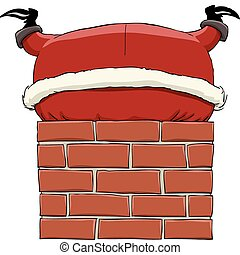 Santa Claus stuck in chimney, vector illustration