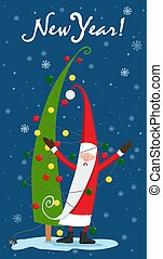 Santa Claus dresses the Christmas tree with garland. New Year tree. Christmas. Vector illustration