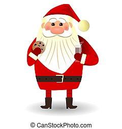 Santa Claus drink a cocoa