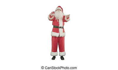 Santa Claus drinking hot tea or coffee and wishes Merry Christmas on white background.