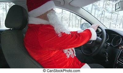 Santa Claus driver driving car