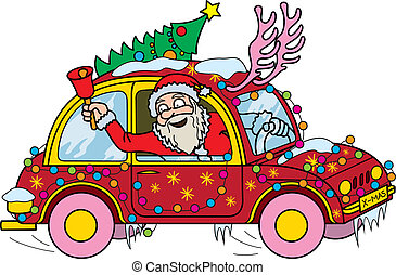 Santa Claus Driver - Illustration Santa Claus leaning out of...