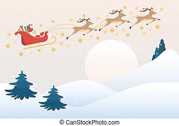 Santa Claus drives sleigh with reindeer on the full moon sky, flat cartoon style, vector illustration