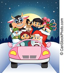 Santa Claus Driving a Pink Car