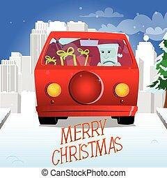 Santa Claus  driving a red car.