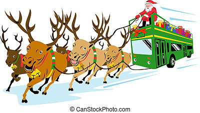 Retro style illustration of santa claus saint nicholas father christmas driving bus with reindeers on isolated white background.
