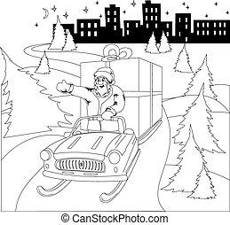 Santa Claus driving car with Christmas gift