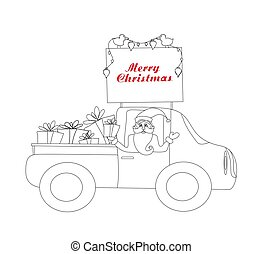 Santa Claus driving car with Christmas gifts - coloring book