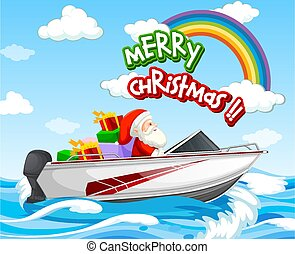Santa Claus driving speed boat in the sea scene with Merry Christmas font