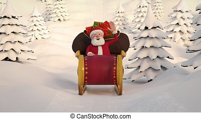 Santa Claus driving through snowy landscape in his sleigh. Frontal View. Seamless looping 3d animation