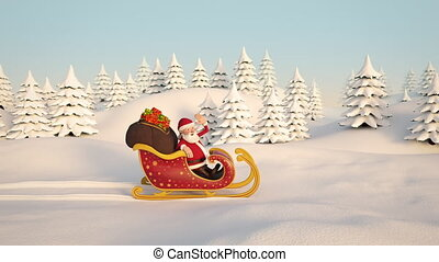 Santa Claus driving through snowy landscape in his sleigh. Side View. 3d animation