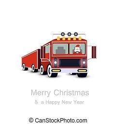 Santa Claus driving truck. Christmas card.