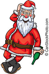 Santa Claus Drunk - Illustration drunk Santa Claus with...