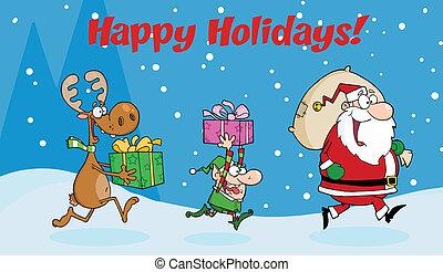 Santa Claus, Elf and Reindeer