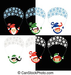 Santa Claus elf the vector illustration eps of 10 assistants on a parachute from snowflakes. gerl . s traditional suit. family elfs isolated against the background . for the press, design, websites, registration, shirt, t-, the ...
