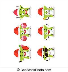 Santa Claus emoticons with new green stars cartoon character.Vector illustration